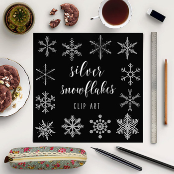 Silver Snowflakes Clip Art, Snowflake Graphics, Winter Clipart