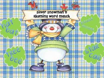 Silver Snowman's rhyming Word Match