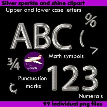 Alphabet Clip Art Silver Sparkle & Shine , Punctuation, Math Symbols & Numerals