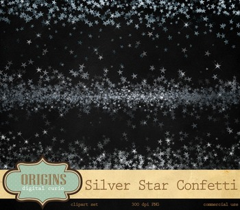 Silver Stars Party Confetti, Star Overlay PNG Clipart