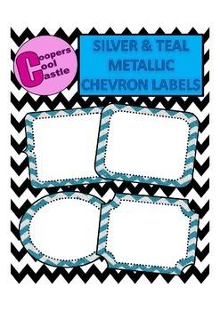 Silver & Teal Metallic Chevron Labels
