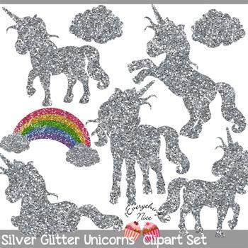 Silver Unicorns Silver Glitter Unicorn Silhouettes Clipart Set