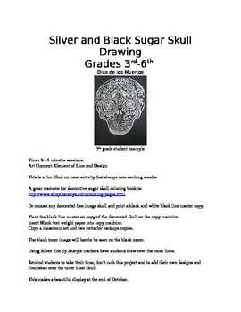 Silver and Black Sugar Skull Drawing