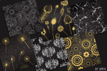 Silver and Gold Black 12x12 Digital Paper Texture Background Feather Damask