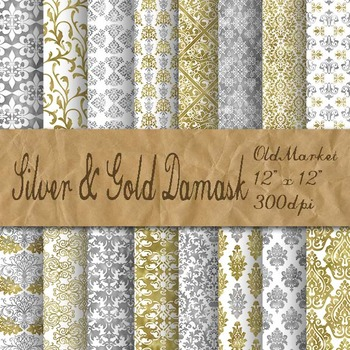 Silver and Gold Damask Digital Paper Pack - 16 Different Papers - 12inx12in