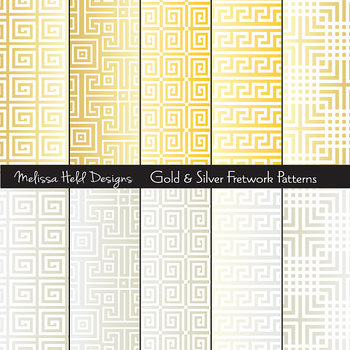 Silver and Gold Fretwork Patterns