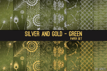 Silver and Gold Green 12x12 Digital Paper Texture Background Feather Damask