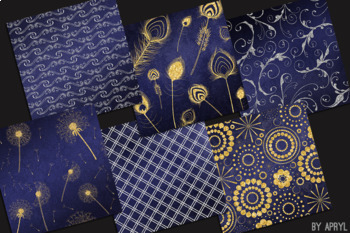 Silver and Gold Navy Blue 12x12 Digital Paper Texture Background Feather Damask