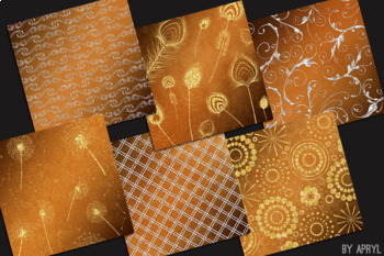 Silver and Gold Orange 12x12 Digital Paper Texture Background Feather Damask