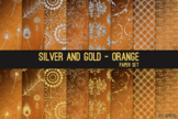 Silver and Gold Orange 12x12 Digital Paper Texture Backgro