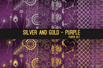 Silver and Gold Purple 12x12 Digital Paper Texture Background Feather Damask