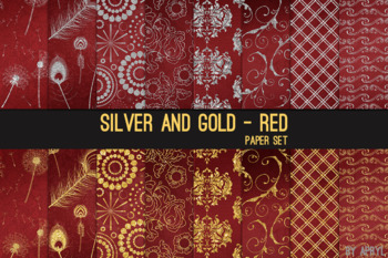 Silver and Gold Red 12x12 Digital Paper Texture Background Feather Damask