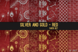 Silver and Gold Red 12x12 Digital Paper Texture Background
