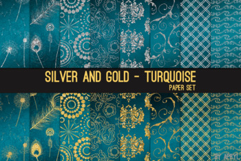 Silver and Gold Turquoise 12x12 Digital Paper Texture Background Feather Damask