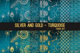 Silver and Gold Turquoise 12x12 Digital Paper Texture Back