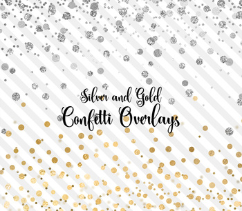Silver and Gold confetti overlays, PNG party confetti clipart, glitter and foil