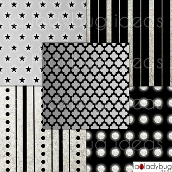 Silver and black wallpapers. Silver and black digital papers. Backgrounds.