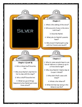 SILVER by Gloria Whelan - Discussion Cards