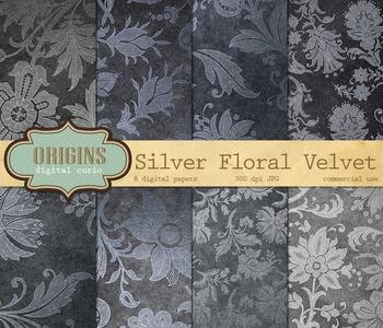Silver floral velvet damask backgrounds digital paper