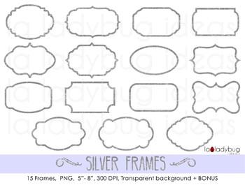 Silver foil frames. 15 silver frames clip art. PNG files.