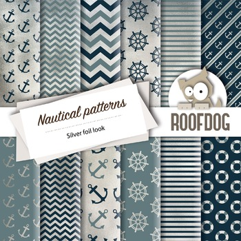 Silver foil looknautical themed digital papers