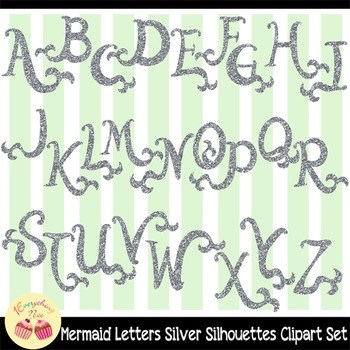 Silver-glittered Mermaid Letters Silver Glitter Clipart Set
