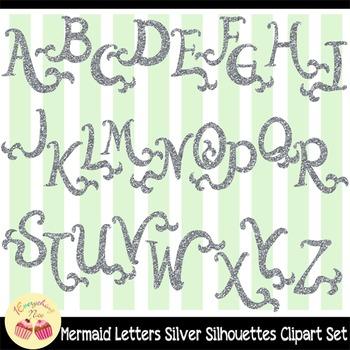 Silver-glittered Mermaid Letters Silver Glitter Clipart Set