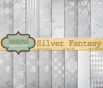 Silver medieval heraldry fantasy digital paper patterns backgrounds