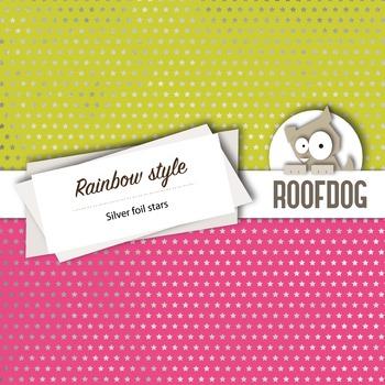 Silver rainbow stars digital paper