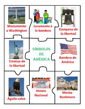 """Simbolos de America: """"Cut & Paste, Match Up, & Puzzle"""" in Spanish"""
