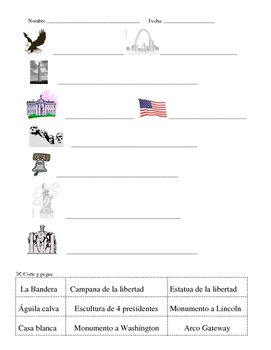 """SIMBOLOS DE AMERICA """"Cut & Paste, Match Up, & Puzzle"""" in Spanish"""