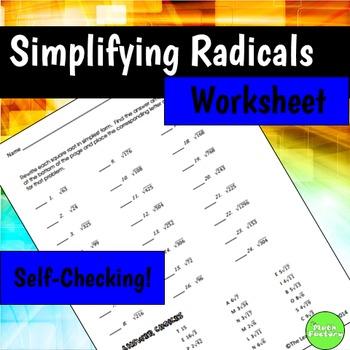 Simplifying Radicals Self-Checking Worksheet