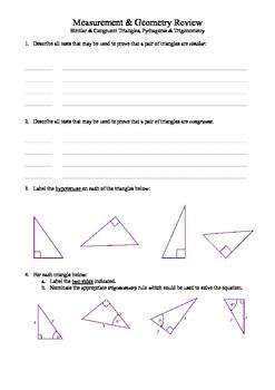 Similar & Congruent, Pythagoras & Trigonometry review (revsion)