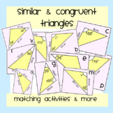 Similar & Congruent Triangles Matching Activities & More