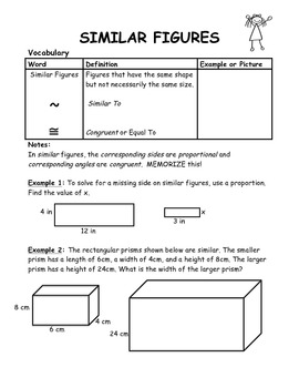 Similar Figures Guided Student Notes with Key
