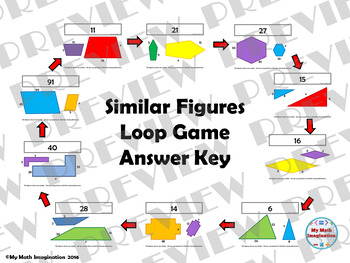 Similar Figures Loop Game with Missing Dimensions - Solve Using Proportions