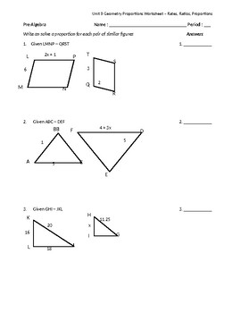 Similar Figures & Proportions Worksheet by Math is Easy as Pi | TpT