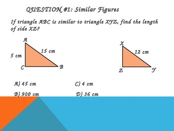 Similar Figures, Proportions, and Pythagorean Theorem Review Word Problems