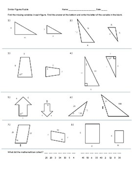 Similar Figures Puzzle worksheet by Chris Smith | TpT