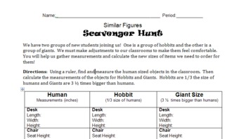 Similar Figures Scavenger Hunt - Measurements, Proportions, & Fractions