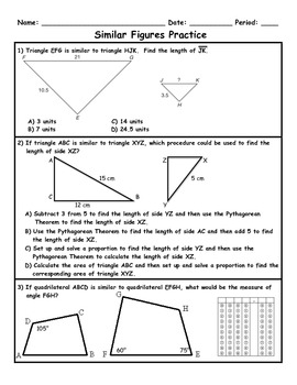 Similar Figures Word Problems Applications Practice