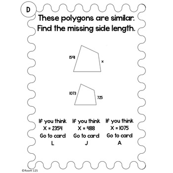 Similar Figures and Proportions Choose Your Answer Activity