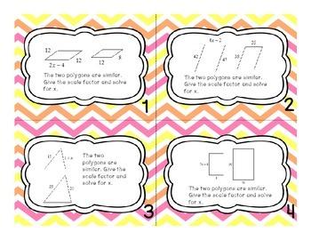 Similar Polygon Task Cards (Algebra in Geometry--Solve for X)