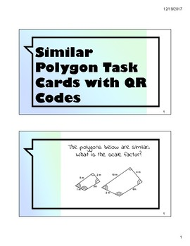 Similar Polygon Task Cards with QR Codes