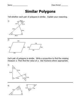 Similar Polygons Practice Worksheet Geometry Word Problems Find Value of X
