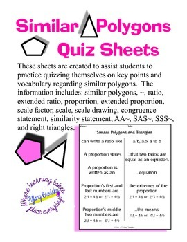 Similar Polygons and Triangles Self Quiz Sheets for Geometry Students