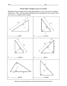 Similar Right Triangles Color by Number