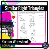 Similar Right Triangles Partner Worksheet