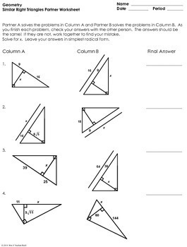 similar right triangles partner worksheet by mrs e teaches math tpt. Black Bedroom Furniture Sets. Home Design Ideas