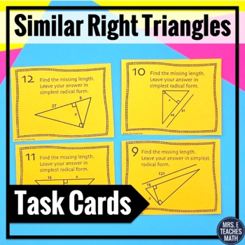 Similar Right Triangles Task Cards